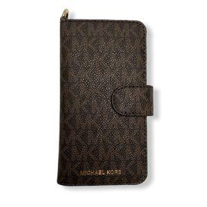 Michael Kors IPhone 7 Folio MK Brown Case & Wallet